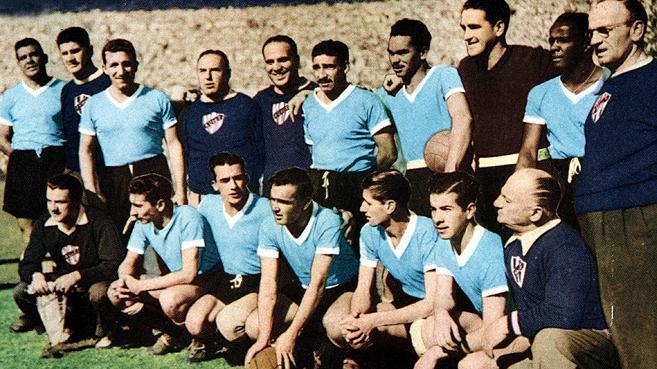 A seleção uruguaia campeã em 1950