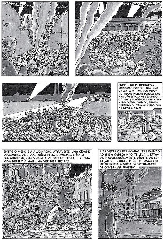 """Página do romance gráfico """"A Arte de Voar"""""""