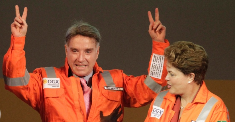 Eike Batista e a presidente Dilma Rousseff inauguram poço que se revelou um fiasco | Foto: Ricardo Moraes/Reuters
