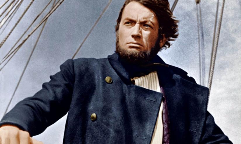 Gregory Peck como capitão Ahab na versão de John Huston do livro de Melville