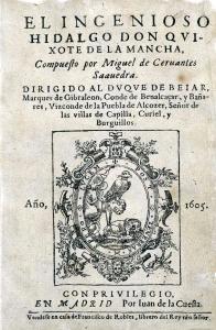 """Capa da primeira edição de """"Dom Quixote"""", de 1605"""