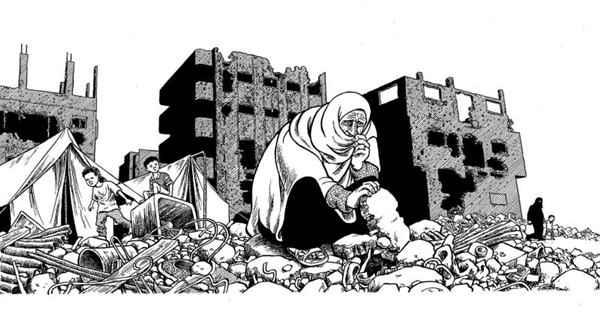 """Da série """"Portfólio de Gaza"""", da reportagem """"Territórios Palestinos: Uma mulher procura os braceletes de ouro da nora nos escombros de uma casa demolida por Israel"""